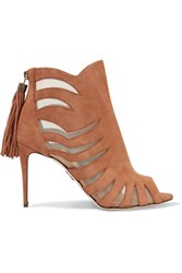 Paul Andrew Hanaa Mesh Paneled Suede Ankle Boots Tan