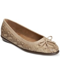 Aerosoles Fast Bet Ballet Flats Women's Shoes Light Tan Snake