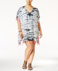 Raviya Plus Size Tie Dyed Tasseled Cover Up Women's Swimsuit Grey