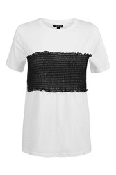 Topshop Tall Mesh Sheering Tee White