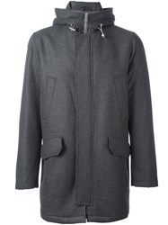 Eleventy Hooded Zip Up Coat Grey