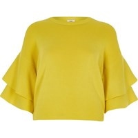 River Island Yellow Knit Frill Sleeve Jumper