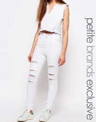 Waven Petite Anika High Waist Skinny With Rips White