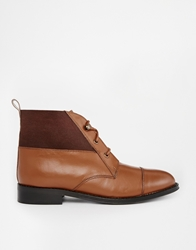 Park Lane Leather Cuff Lace Up Ankle Boots