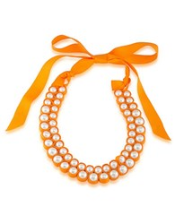 1St And Gorgeous Faux Pearl Bib Necklace White Pearl And Light Orange