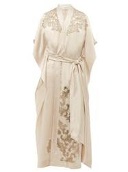 Carine Gilson Lace Trimmed Silk Satin Robe Cream