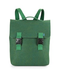 M R K T Carter Felt And Faux Leather Backpack Midnight Green