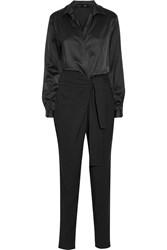 Jay Ahr Satin And Stretch Crepe Jumpsuit Black