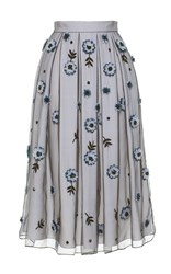 Holly Fulton Floral Organza A Line Midi Skirt Blue