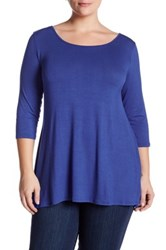 Edista 3 4 Length Sleeve Criss Cross Tee Plus Size Blue