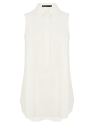Karen Millen Relaxed Sleeveless Shirt Ivory