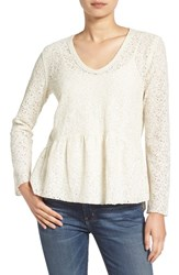 Hinge Women's Lace Seamed Top