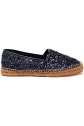 Dolce And Gabbana Sequined Leather Espadrilles Violet