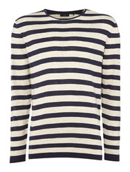 Minimum Men's Crew Neck Striped Jumper Dark Navy