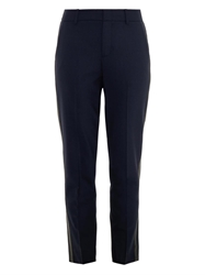 Vince Leather Tuxedo Stripe Wool Trousers
