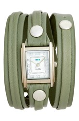 La Mer 'S Collections Saturn Leather Strap Wrap Watch 25Mm Sage White Silver