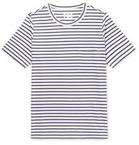The Workers Club Striped Cotton Jersey T Shirt Blue