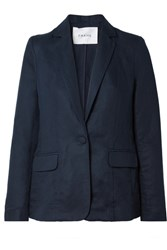 Frame Lyocell And Linen Blend Blazer Navy
