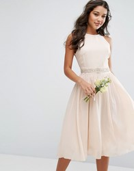 Tfnc Wedding Embellished Midi Dress With Full Skirt Nude Pink