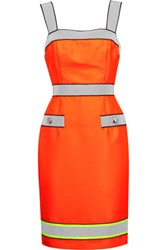 Moschino Reflective Trimmed Neon Twill Dress Orange