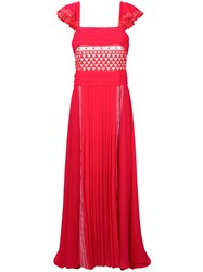Philosophy Di Lorenzo Serafini Pleated Geometric Patterned Gown Red