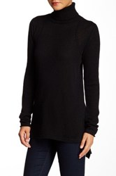 Cullen Rib Detail Hi Lo Cashmere Turtleneck Sweater Black
