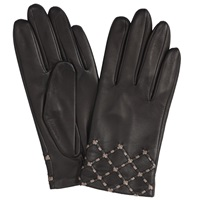 John Lewis Silk Lined Leather Gloves Black Taupe