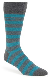 Boss Men's 'Rs Design' Stripe Socks Grey Medium Grey Aqua