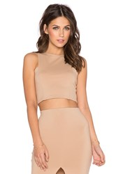 Donna Mizani Front Panel Crop Top Beige