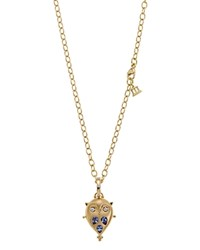 Temple St. Clair 18K Gold Small Owl Locket With Tanzanite And Diamonds Gold Blue