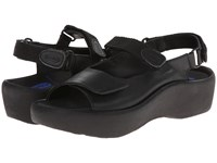 Wolky Jewel Black Smooth Leather Women's Hook And Loop Shoes