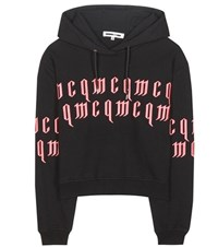 Mcq By Alexander Mcqueen Embroidered Cotton Hoodie Black