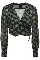 Anna Sui Woman Cropped Crepe Wrap Blouse Forest Green