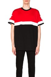 Givenchy Colorblock Tee In Red Black Red Black