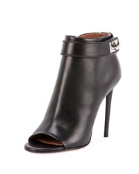 Givenchy Shark Lock Open Toe Bootie Black