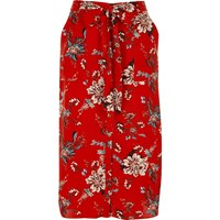 River Island Womens Red Floral Print Shirt Skirt