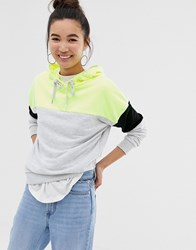 New Look Colour Block Hoody In Neon Light Yellow