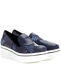 Stella Mccartney Star Binx Patent Platform Loafers Blue