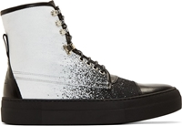 Mcq By Alexander Mcqueen Black Denim And Leather Spraypainted High Tops