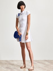 Shanghai Tang Rayon Embroidery Cut Out Short Sleeve Dress White