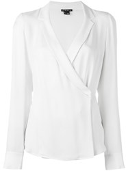 Theory Cross Front Longsleeved Blouse White