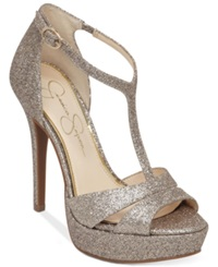 Jessica Simpson Beryl T Strap Platform Dress Sandals Women's Shoes Soft Gold Glitter