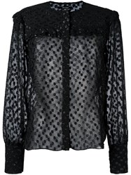 Isabel Marant Polka Dot Semi Sheer Blouse Black