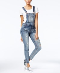 Dollhouse Juniors' Skinny Denim Overalls Blizzard Blue