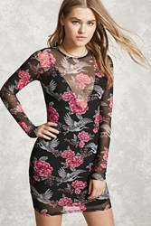 Forever 21 Sheer Bird Print Bodycon Dress Black Pink
