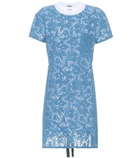 Miu Miu Cotton Lace T Shirt Dress Blue