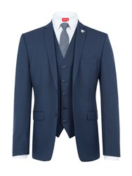 Lambretta Men's Textured Slim Fit Three Piece Suit Navy