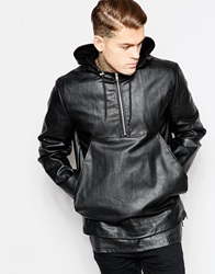 Asos Faux Leather Hooded Jacket Black