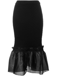 Opening Ceremony Ruffle Hem Pencil Skirt Black