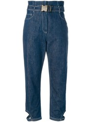 Fendi High Waist Cropped Jeans Blue